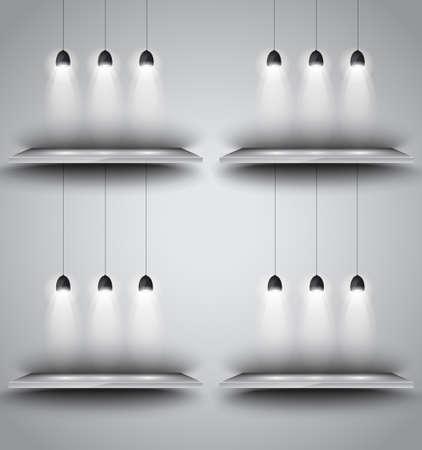 시뮬레이션: Shelves with 3 spotlights lamp with directional lights for product advertisement, shopfront simulation or wall decoration. 일러스트