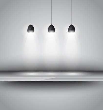 시뮬레이션: 3 SHEF인가요 제품 광고, shopfront 시뮬레이션이나 벽 장식에 대한 방향 빛 램프를 조명.