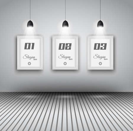 passado: Infogr�ficos elegante modelo de design com elementos shopfront. l�mpada com as luzes do ponto de dire��o e painel para al�m de seus produtos. Ilustra��o