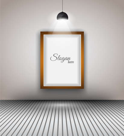 Modern interior art gallery frame design with spotlights. Shelf, spotlight with directional light, delicate shadows and clean background. Stock Vector - 20226776