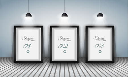 shopfront: Elegant infographics design template with shopfront elements. lamp with directional spot lights and panel to past your products.