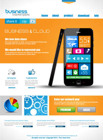 web site design template: Website template for corporate business and cloud purposes. Ideal for company blogs with high class presence. Illustration