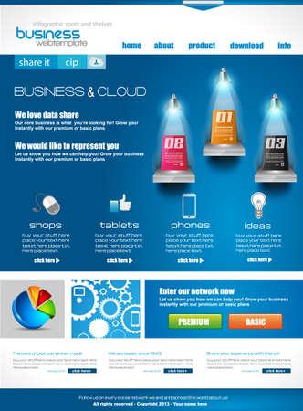 website: Website template f?r das Firmenkundengesch?ft und Cloud-Zwecke. Ideal f?r Unternehmens-Blogs mit hochwertigen Pr?senz. Illustration