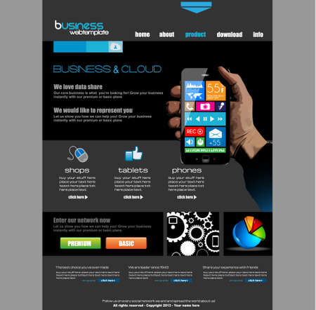 Website template for corporate business and cloud purposes. Ideal for company blogs with high class presence. Stock Vector - 20226938