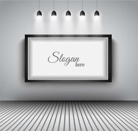 Modern interieur kunstgalerie frame design met spots. Plank, spot met gericht licht, delicaat schaduwen en schone achtergrond.