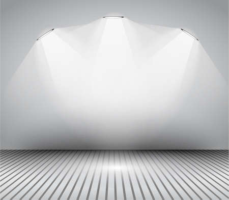 exhibition hall: Modern interior art gallery frame design with spotlights. Shelf, spotlight with directional light, delicate shadows and clean background.