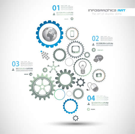 Infographic design template with gear chain. Ideal to display information, ranking and statistics with orginal and modern style. Vettoriali