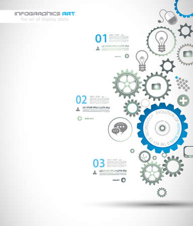 orginal: Infographic design template with gear chain. Ideal to display information, ranking and statistics with orginal and modern style. Illustration
