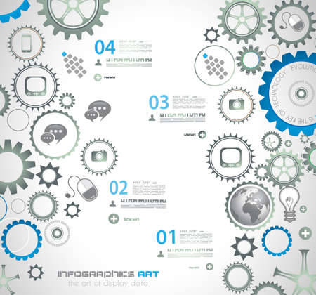 mechaninc: Infographic design template with gear chain. Ideal to display information, ranking and statistics with orginal and modern style. Illustration