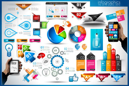 Infographic elements - set of paper tags, technology icons, cloud cmputing, graphs, paper tags, arrows, world map and so on. Ideal for statistic data display. Vettoriali