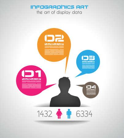 통신: 남자와 기존 스타일의 인포 그래픽 순위 목적을 위해 형성한다. busness 프리젠 테이션 또는 그래픽 보고서에 사용하는 일러스트