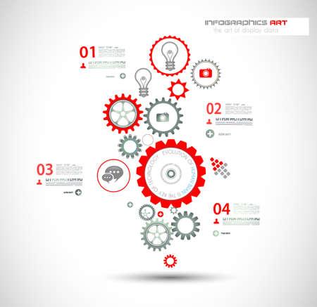 gears: Plantilla de dise?o Infograf?a con la cadena de engranajes. Ideal para mostrar informaci?n, clasificaci?n y estad?sticas con un estilo original y moderno. Vectores
