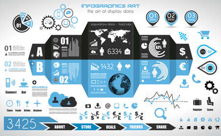 of computer graphics: Infographic elements - set of paper tags, technology icons, cloud cmputing, graphs, paper tags, arrows, world map and so on. Ideal for statistic data display. Illustration
