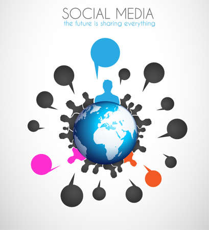 Worldwide communication and social media concept art. People communicating around the globe with a lot of connections. Stock Vector - 21316551