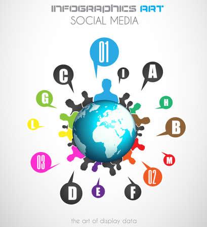 Wereldwijde communicatie en social media concept art. Mensen communiceren over de hele wereld met veel connecties. Stock Illustratie