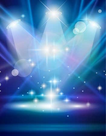 Magic Spotlights met blauwe stralen en gloeiende effect voor mensen of product reclame. Elke licht en schaduw zijn transparant.