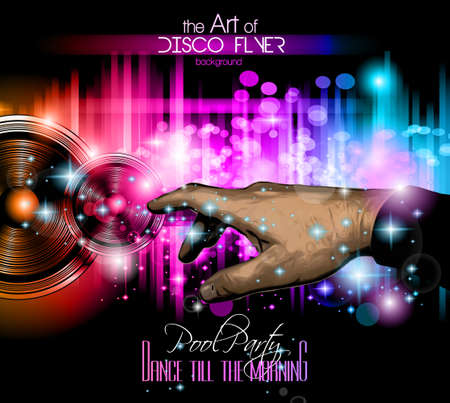The Art of Disco Flyer - Stunning Speakers with a pointing hand and a lot of stars and ray lights.