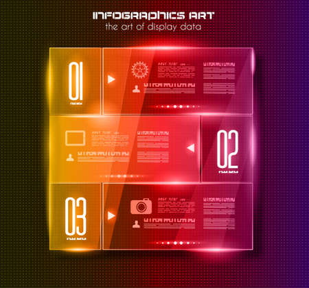Infographic design template with glass surfaces.and spotlights. Ideal to display information, ranking and statistics with orginal and modern style. Illustration