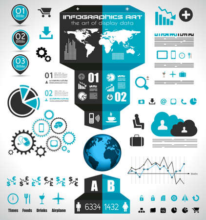 demographics: Infographic elements - set of paper tags, technology icons, cloud cmputing, graphs, paper tags, arrows, world map and so on. Ideal for statistic data display. Illustration
