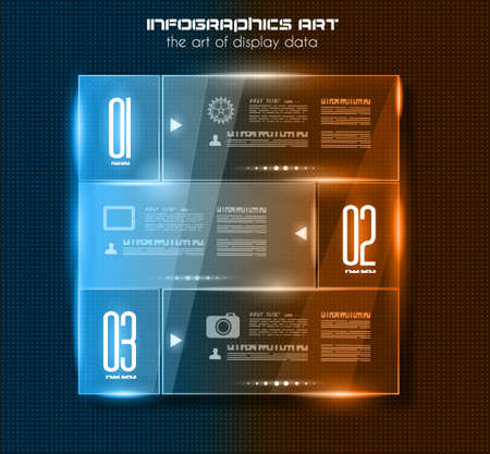 Infographic design template with glass surfaces.and spotlights. Ideal to display information, ranking and statistics with orginal and modern style. Stock Vector - 21598903