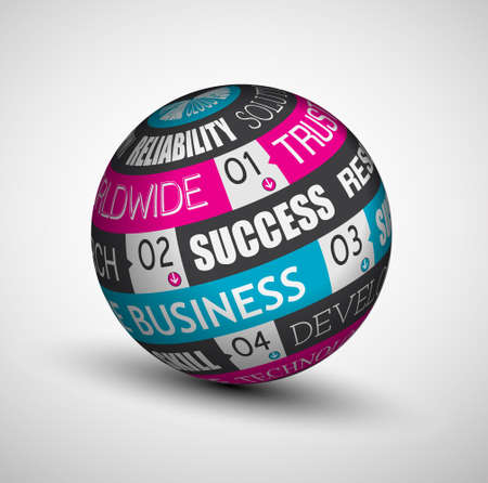 Abstract Business technology sphere of ideas. An infographics with the most important concept for core business. Vector