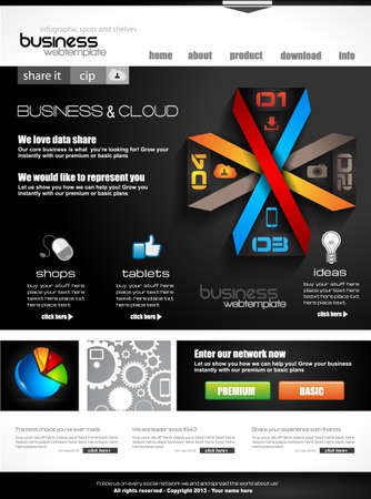 high class: Website template with infographics for corporate business and cloud purposes. Ideal for company blogs with high class presence.