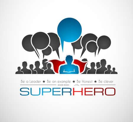 슈퍼 히어로 모양 전세계 통신 및 소셜 미디어 컨셉 아트. 연결의 많은 전세계 통신 사람들.