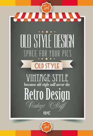 Modello di pagina retrò vintage per una varietà di scopi: home page del sito Web, volantini vecchio stile, copertine di libri o poster vintage. Vettoriali
