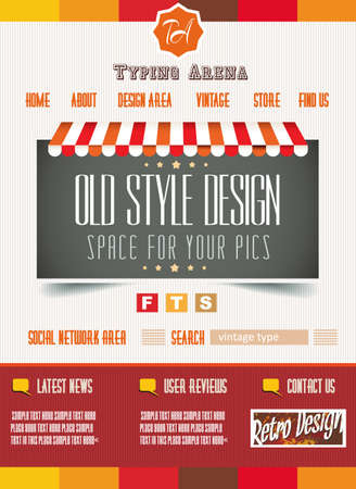 Vintage retro page template for a variety of purposes: website home page, old style flyers, book covers or vintage posters.