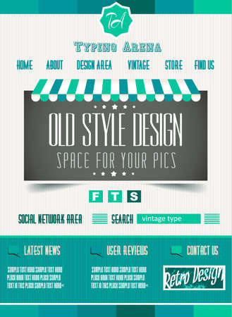 Vintage Retro Page Template For A Variety Of Purposes Website Home Old Style