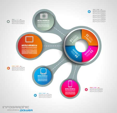 graphics: Infographic ontwerp sjabloon met papier tags. Ideaal om informatie, ranking en statistieken weergeven met originele en moderne stijl. Stockfoto