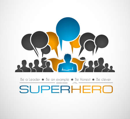 super guy: Worldwide communication and social media concept . Illustration