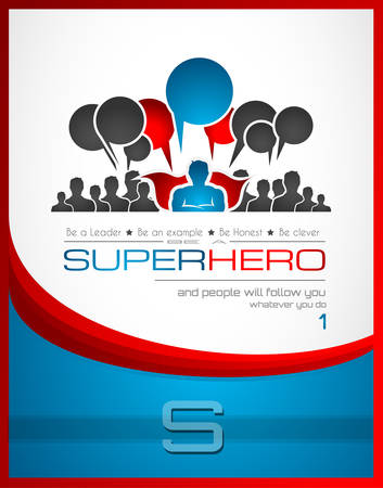 Worldwide communication and social media concept art with a superhero shape. People communicating around the globe with a lot of connections. Vector
