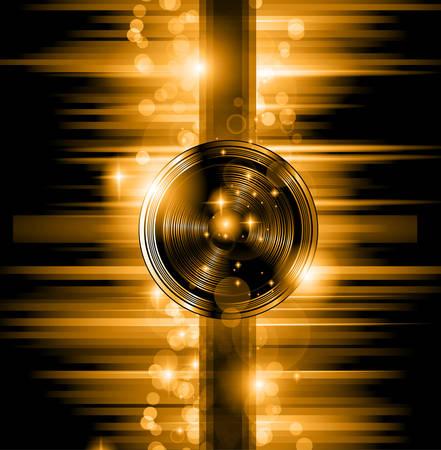 disco parties: El arte de Disco Flyer - Altavoces forma impresionante y un mont�n de estrellas y luces de rayos.