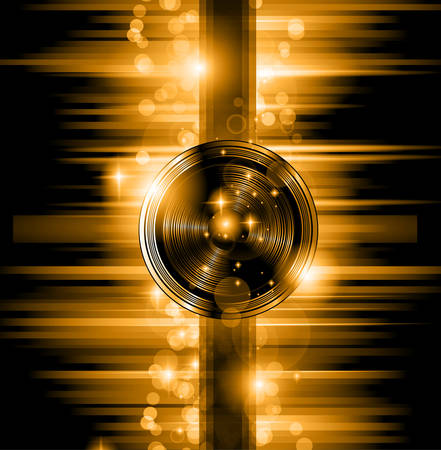 The Art of Disco Flyer - Stunning Speakers shape and a lot of stars and ray lights. Vector