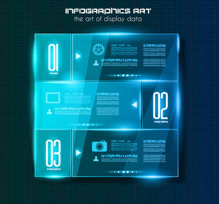 computer graphic: Infographic design template with glass surfaces. Ideal to display information, ranking and statistics with orginal and modern style.