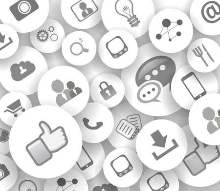ot: Social network life concept with cloud reference. A lot ot icons with delicate shadows