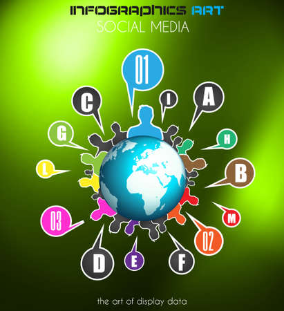 Worldwide communication and social media concept art. People communicating around the globe with a lot of connections. Vector