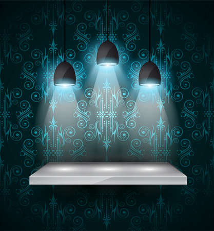 Shelf with 3 spotlights lamp with directional light for product advertisement, shop front simulation or wall decoration. Stock Vector - 22418168