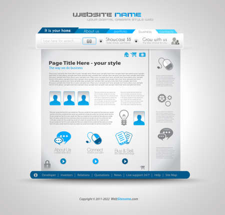 Quality clean web design template for blog and sites. Icons, header, carousel, infographics and a lot of icons. Vector