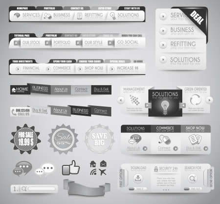 Quality clean web elements for blog and sites. Icons, header, carousel, infographic Vector