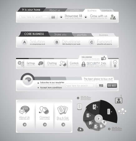 website header: Quality clean web elements for blog and sites. Icons, header, carousel, infographic Illustration