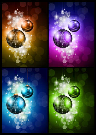Elegant greetings background for flyers or brochure for Christmas or New Year Events with a lot of stunning Colorful baubles. Stock Vector - 22770677