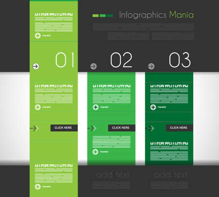 Infographic design template with flat design panels and clear uniform colours. Vector