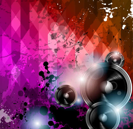 Disco club flyer template. Abstract background to use for music event posters or album covers. Vector
