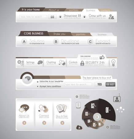 Quality clean web elements for blog and sites. Icons, header, carousel, infographics and a lot of icons. Vector
