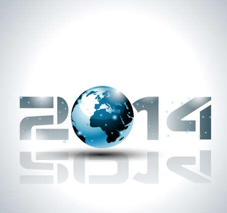 High tech 2014 happy new year background for cover or posters. Vector