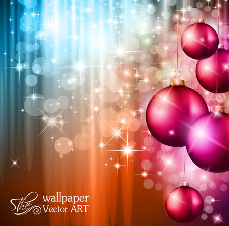 dinne: 2014 Christmas Colorful Background with a waterfall of ray lights and a lot of baubles and stars. Illustration
