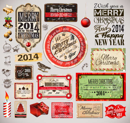 Christmas 2014 Vintage labels and typo collection. A lot of Christmas related design elements for your old style designs Vector