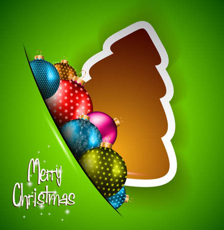 Funny 2014 Merry Christmas background with stylized paper tree and baubles. Vector
